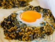 Рецепта Печени гнезда с ориз, лапад и яйца в тава на фурна